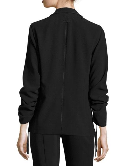 Myrla Ruched-Sleeves Blazer, Black