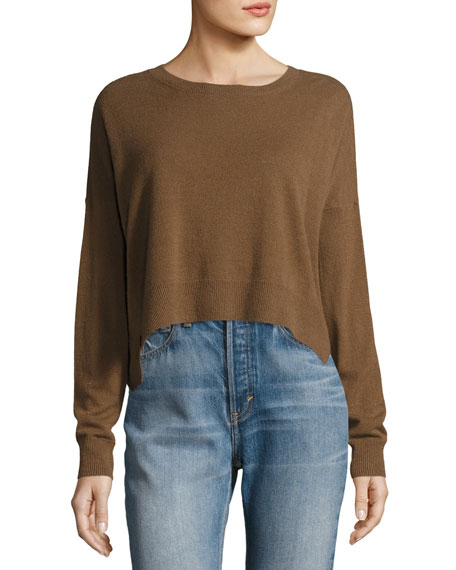 Vince Cropped Wide-Neck Cashmere Sweater
