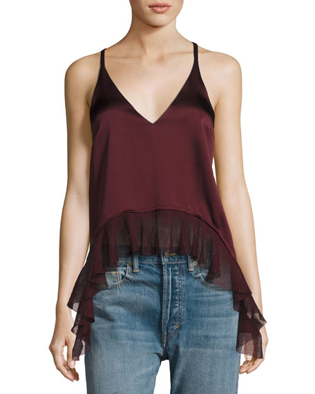 Manette Satin Ruffled Tank Blouse, Wine