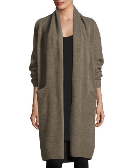 Long Cashmere Open-Front Cardigan, Olivewood