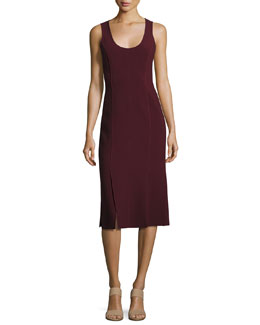 Mireille Sleeveless Scoop-Neck Ponte Dress, Wine