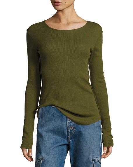 Long-Sleeve Pima Cotton Shirttail Tee