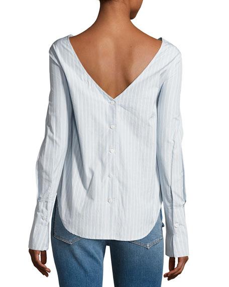 Backwards Long-Sleeve Poplin Blouse, Blue/White