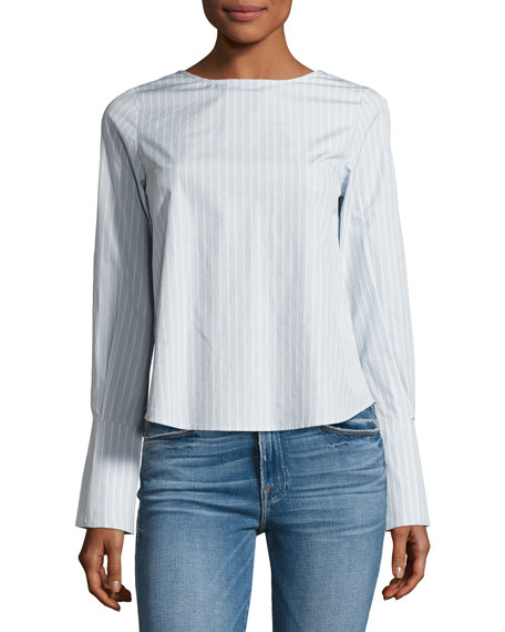 Backwards Long-Sleeve Poplin Blouse, Blue/White