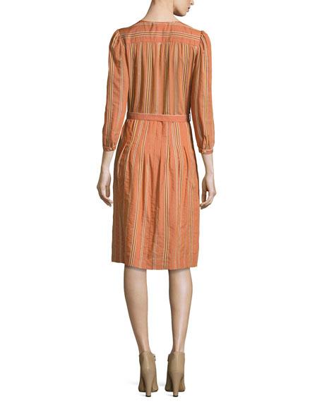 3/4-Sleeve Striped Shirtdress, Brick