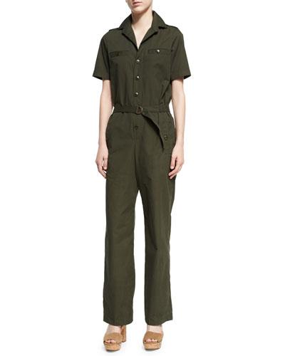 Gina Short-Sleeve Cargo Jumpsuit