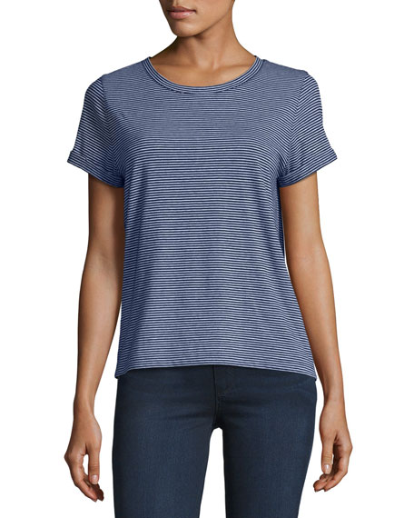 Short-Sleeve Striped Cotton T-Shirt, Navy