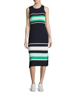 Striped Crew-Neck Tank Dress, Blue/Green