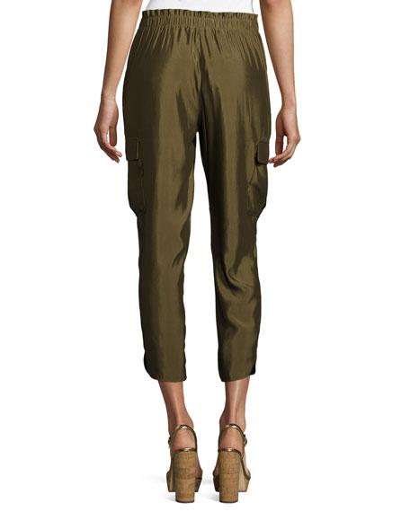 Allyn Soft Sateen Cargo Pants, Green