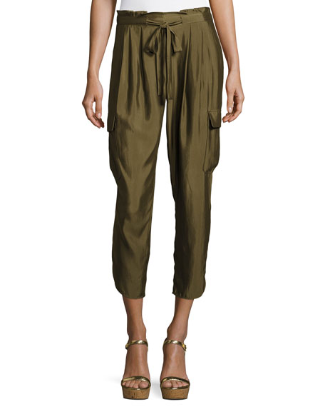 Ramy Brook Allyn Soft Sateen Cargo Pants, Green