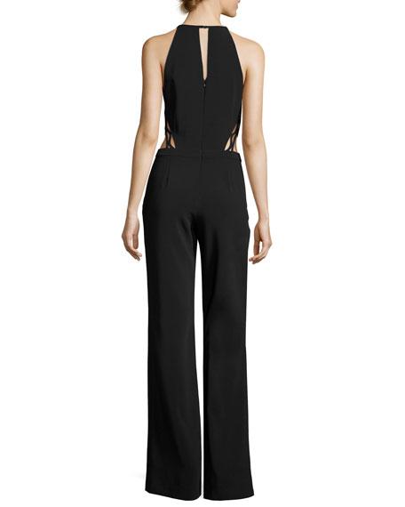 Abbey Halter Cutout Jumpsuit, Black