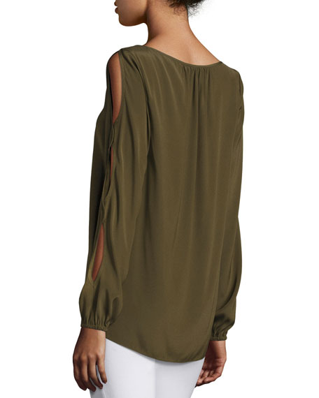 Madden Long Slit Sleeves Top, Green