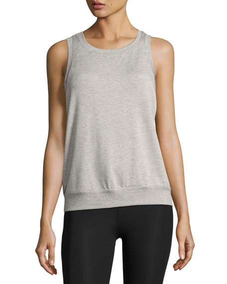 x kate spade new york terry bow cutout muscle tank, light gray
