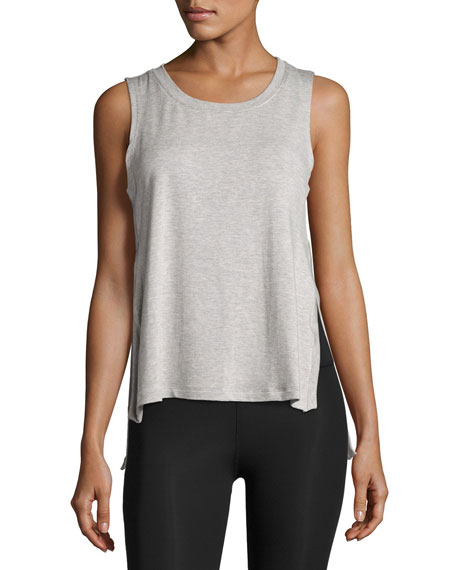 Varsity High-Low Tank Top, Light Gray