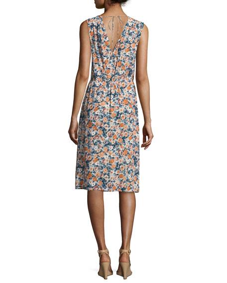 The Sleeveless Floral-Print Wrap Dress, Multi