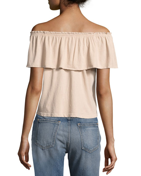 The Ruffle Off-the-Shoulder Top, White