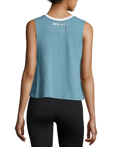 Take It Easy Crop Tank Top, Blue