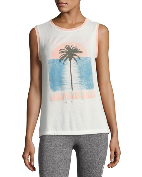 Sunkissed Palm Chakra Muscle Tank, White