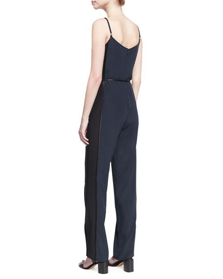 Rosa Sleeveless Silk Jumpsuit, Blue