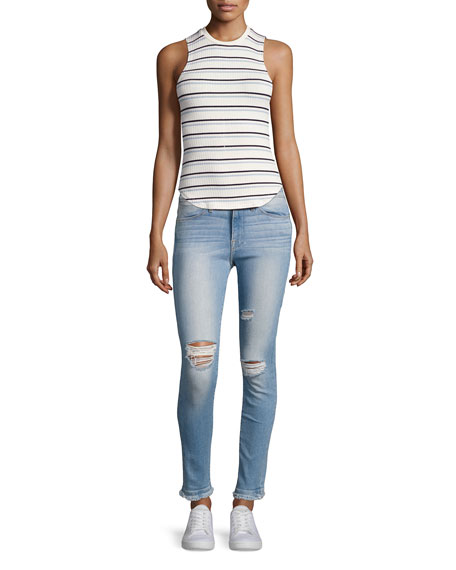 Le High Skinny Double Raw-Edge Jeans, Blue