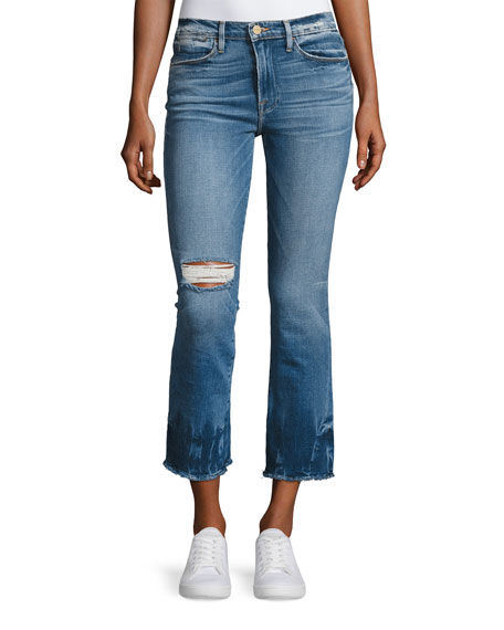 Le High-Rise Straight Raw-Edge Faded Jeans, Meriweather
