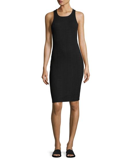 Variegated Ribbed Tank Dress, Black