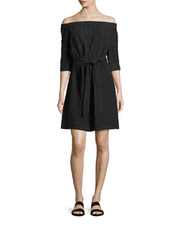 Off-the-Shoulder Linen Dress, Black