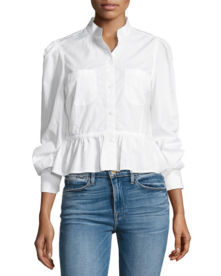 Double-Pocket Peplum Poplin Blouse, White