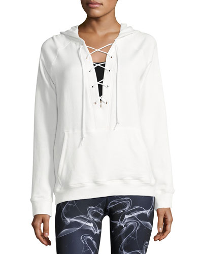 Lace-Up Athletic Pullover Hoodie, White