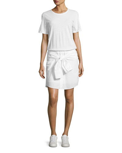 Corey Cotton T-Shirt Dress, White