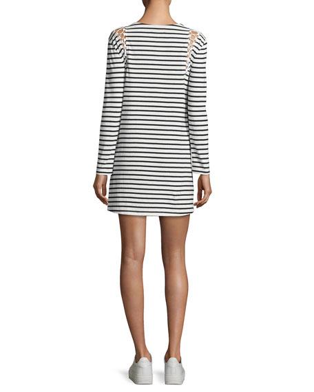 Chapman Striped Cotton Dress, White/Blue