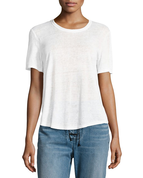 Alber Lace-Back Linen Tee, White