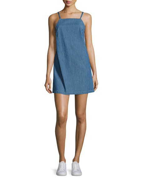 Twist Sleeveless Open-Back Denim Dress, Blue