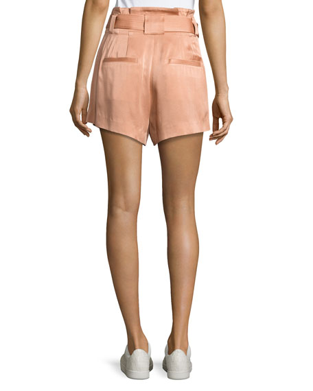 Delilah High-Waist Sateen Shorts, Pink
