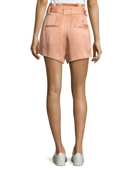 Deliah High-Waist Sateen Shorts, Pink