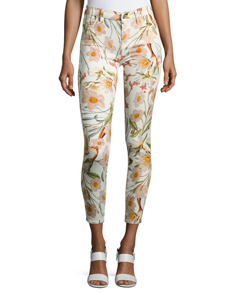 The Ankle Skinny Floral-Print Jeans, Multi