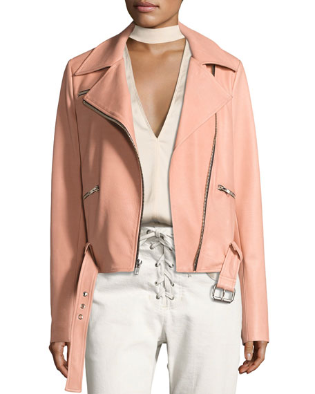Duvall Leather Motorcycle Jacket, Pink