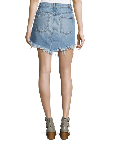 Distressed Mini Skirt W/ Scallop Raw-Hem, White