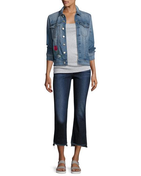 Cropped Boot Jeans W/ Step Hem, Indigo