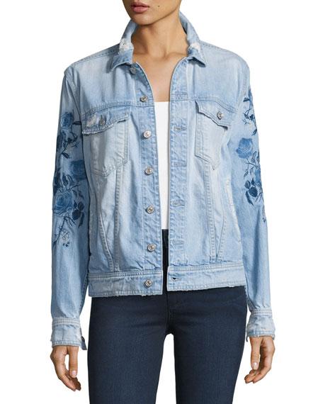 Distressed Boyfriend Jacket W/Blue Roses, Indigo