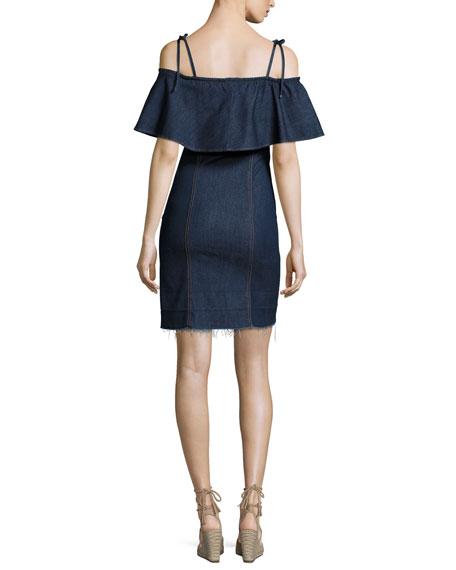 Off-the-Shoulder Denim Mini Dress, Blue