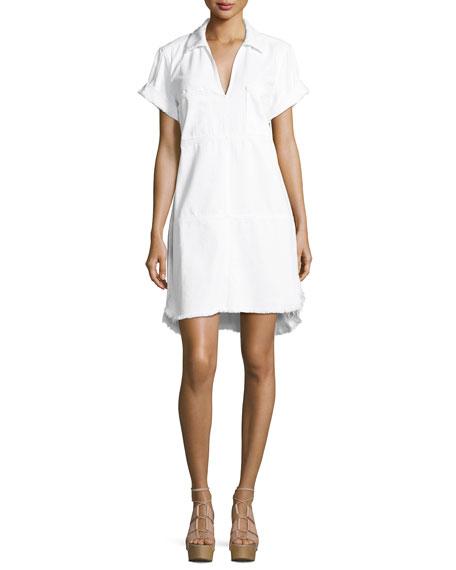 7 For All Mankind Short-Sleeve Denim Dress W/