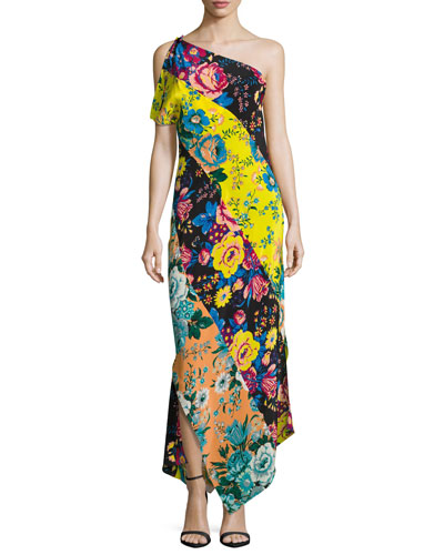 One-Shoulder Asymmetric Hem Dress, Black Pattern