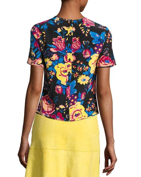 Floral-Print Tailored Silk T-Shirt, Black