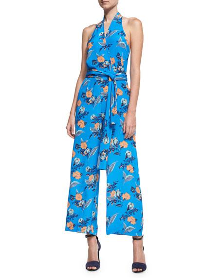 Diane von Furstenberg Halter-Neck Wrap-Front Jumpsuit, Blue