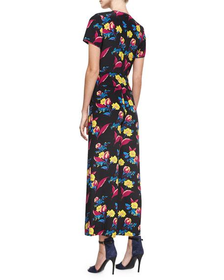Short-Sleeve Cropped Flared Silk Jumpsuit, Black