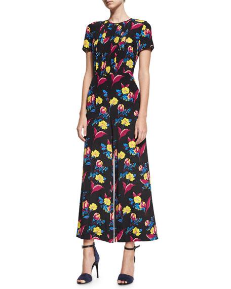 Diane von Furstenberg Short-Sleeve Cropped Flared Silk Jumpsuit,