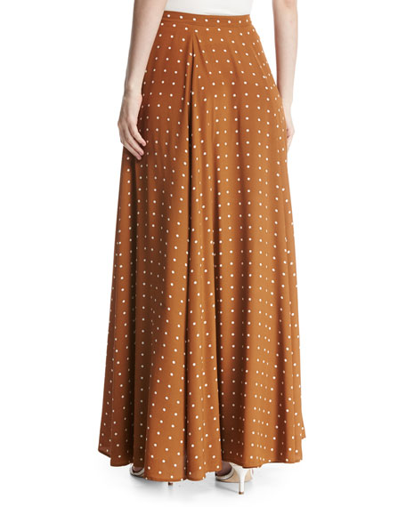 Flare Silk Maxi Skirt, Multi