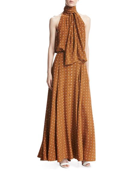 Flare Silk Maxi Skirt, Multi