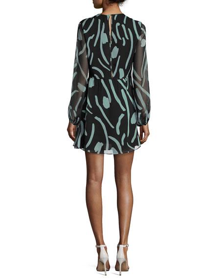 Long-Sleeve Crewneck Silk Mini Dress, Black